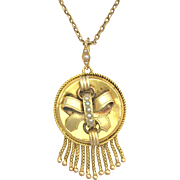 """Antique Victorian 15K Gold Tassel Pendant with Seed Pearls on 15"""" Chain"""