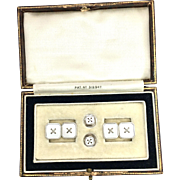 Art Deco 9K White Gold and Mother of Pearl Dress Set