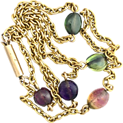 Antique Tourmaline and 9K Gold Chain Necklace