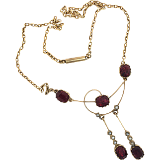 Victorian Arts and Crafts 9K Gold Garnet Necklace with Seed Pearls