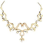 Antique Edwardian 15K Gold, Diamond and Seed Pearl Necklace