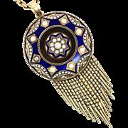 Antique Victorian 15K Gold Enamelled Tassel Locket Necklace