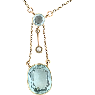 Antique Edwardian 15K Gold, Seed Pearl and Aquamarine Drop Necklace