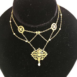 Antique French 15K Gold and Seed Pearl Swagged Chain Necklace
