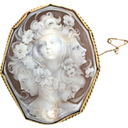 Huge 18K Gold Persephone Cameo Brooch with Safety Chain