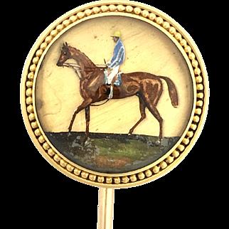 Antique Victorian 18K Gold Essex Crystal Horse Stick Pin