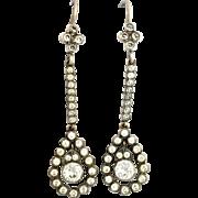 Antique Victorian Sterling Silver Paste Drop Earrings