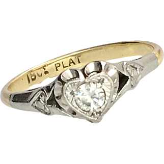 Antique Diamond, Platinum and 18K Gold Heart Ring