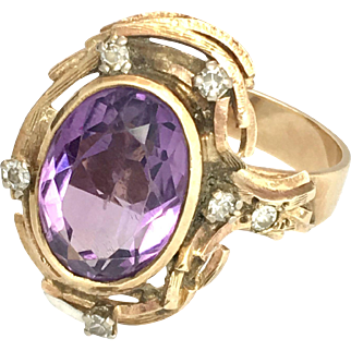 Vintage Diamond and Amethyst 9K Gold Ring