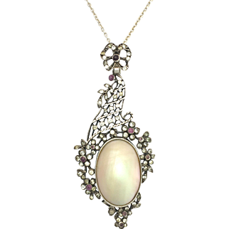 Antique Edwardian Mother of Pearl and Paste Sterling Silver Pendant