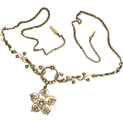 Antique Victorian 15K Gold and Seed Pearl Necklace with Flower Drop