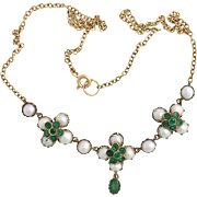Antique Victorian Emerald and Pearl 15K Gold Necklace