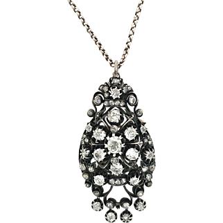 Antique French 2.5CT Diamonds, 18K Gold and Silver Pendant/Brooch
