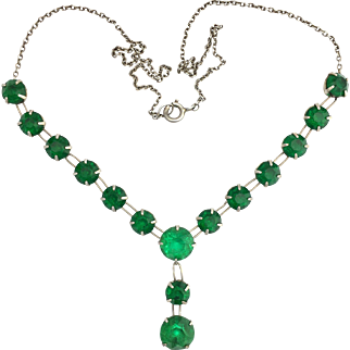 Art Deco Emerald Green Paste and Sterling Silver Necklace