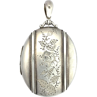 Large Victorian 1882 Sterling Silver Locket Pendant