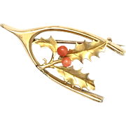 Antique 15K Gold Coral Holly and Wishbone Brooch