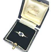 Antique Diamond and Sapphire 18K Gold and Platinum Ring