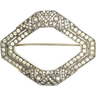 Vintage Art Deco Paste and Sterling Silver Brooch