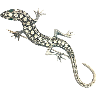 Vintage Art Deco Sterling Silver and Paste Lizard Brooch