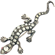 Art Deco Sterling Silver and Paste Salamander Brooch
