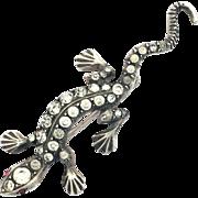 Art Deco Sterling Silver and Paste Salamander Brooch