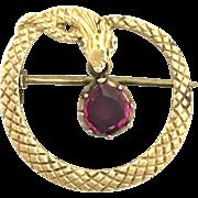 Antique 15K Gold and Garnet Snake Brooch