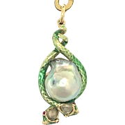 Antique Victorian Rose Cut Diamond, Ruby and Baroque Pearl 14K Gold Enamel Snake Pendant
