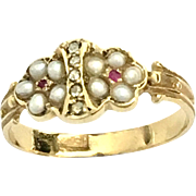 Antique 15K Gold Pearl, Diamond and Ruby Ring