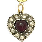 Antique Georgian 15K Gold, Silver, Heart-shaped Garnet and Rose-cut Diamond Pendant