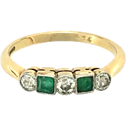 Vintage Art Deco Diamond and Emerald 18K Gold Five-Stone Ring