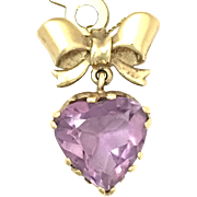 Vintage 9K Gold Amethyst Heart and Bow Pendant