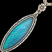 Vintage Art Deco Blue Morpho Butterfly Wing Sterling Silver Pendant