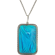 Large Art Deco Blue Morpho Butterfly Wing Sterling Silver Pendant