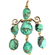 Antique Turquoise and 9CT Gold Chandelier Pendant