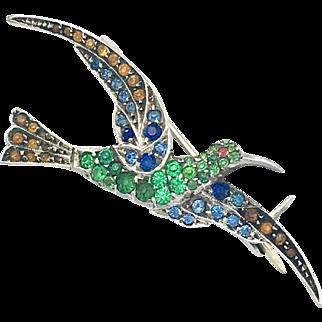 Vintage Sterling Silver Multicolour Paste Hummingbird Brooch