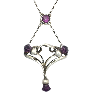 Antique 1909 Charles Horner Silver Necklace with Purple Scottish Thistle Design