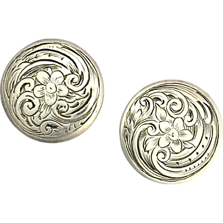 Antique Victorian Sterling Silver Button Earrings