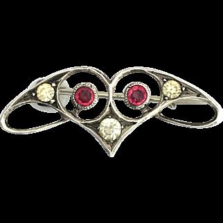 Art Nouveau Red Paste Silver Brooch