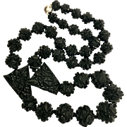 Antique Victorian Carved Whitby Jet Bead Necklace