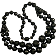 Antique Victorian Whitby Jet Faceted Bead Necklace