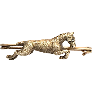 Antique 9K Rose Gold Leaping Horse Brooch with Diamond Eye