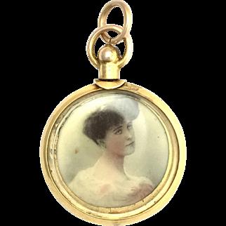 Antique Edwardian English 9K Gold Double Sided Locket with Female Portrait