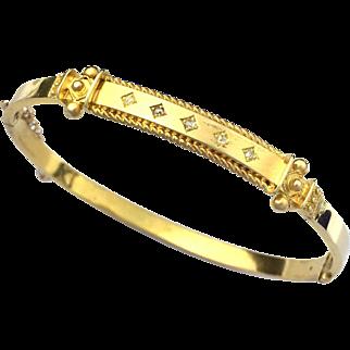 Antique Victorian Five-Stone Diamond 15K Gold Bangle
