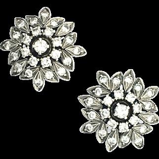 Vintage Diamond 18K White Gold Flower Cluster Earrings