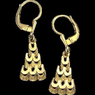 Vintage Hallmarked 9K Gold Triangle Dangle Earrings