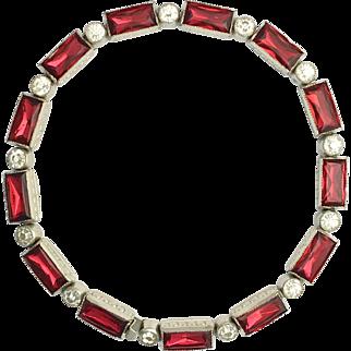 Art Deco Paste Diamond and Ruby Cocktail Bracelet