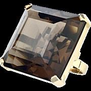 Huge Vintage 9K Gold Smoky Quartz Cocktail Ring