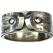 Ornate 1883 Victorian Sterling Silver Engraved Bangle