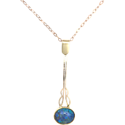 Edwardian Opal, Rose and Yellow 9K Gold Pendant on Rose Gold Chain