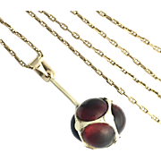 Victorian 9K Gold and Garnet Orb Pendant Chain Necklace